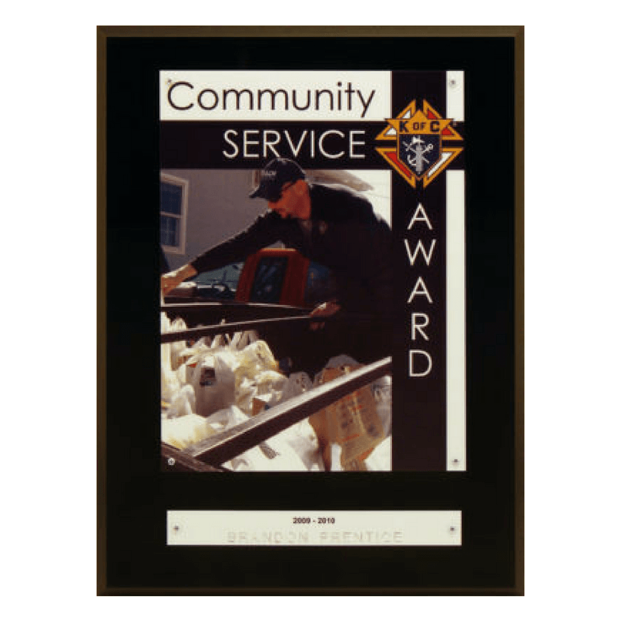 K of C Community Service Award Plaque