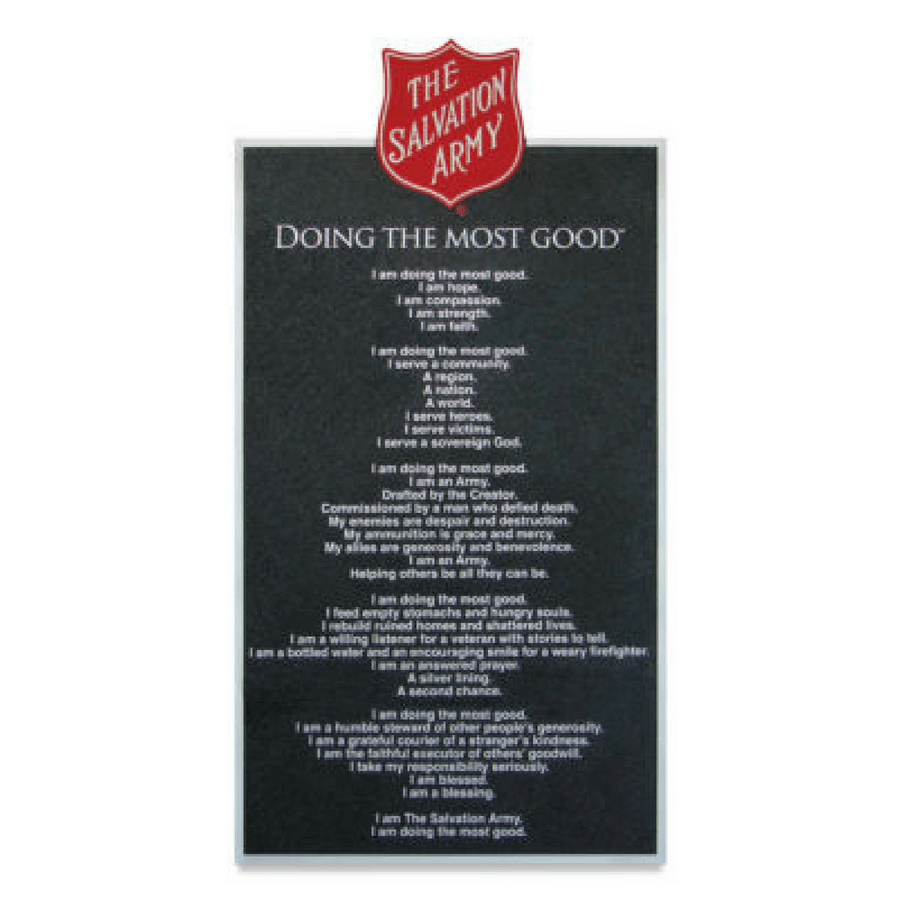 Salvation Army Mission Statement Sign