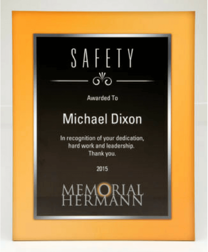 memorial hermann hospital safety award plaque bruce fox