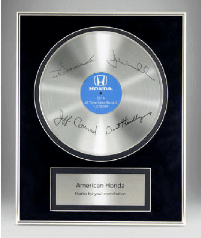 Honda All Time Sales Record Plaque