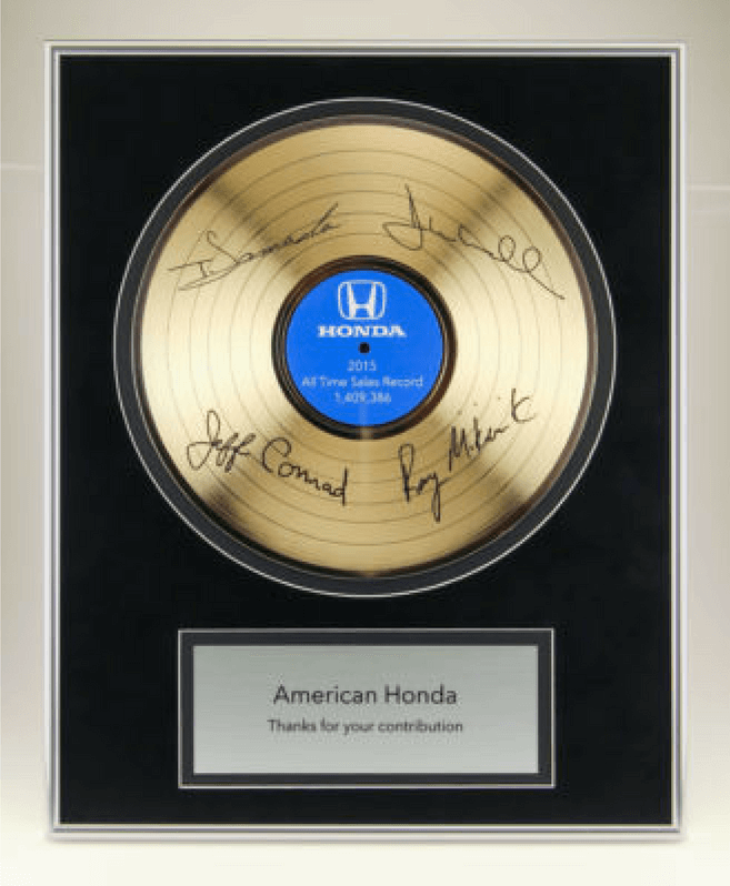 Honda Gold Record Plaque