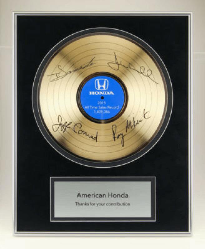 Honda Gold Record Plaque
