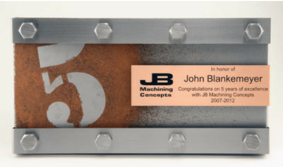 JB Machining Concepts Years of Service Plaque