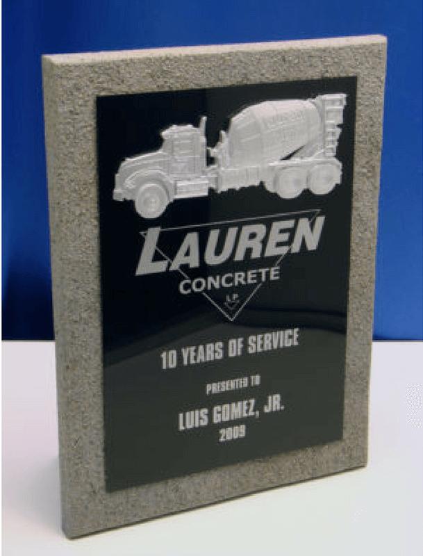 Lauren Concrete Years of Service Plaque