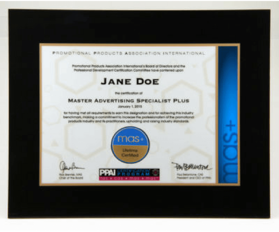 PPAI MAS+ Certification Plaque