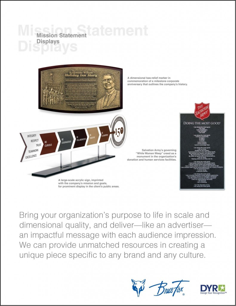 our products - Mission Statement Displays
