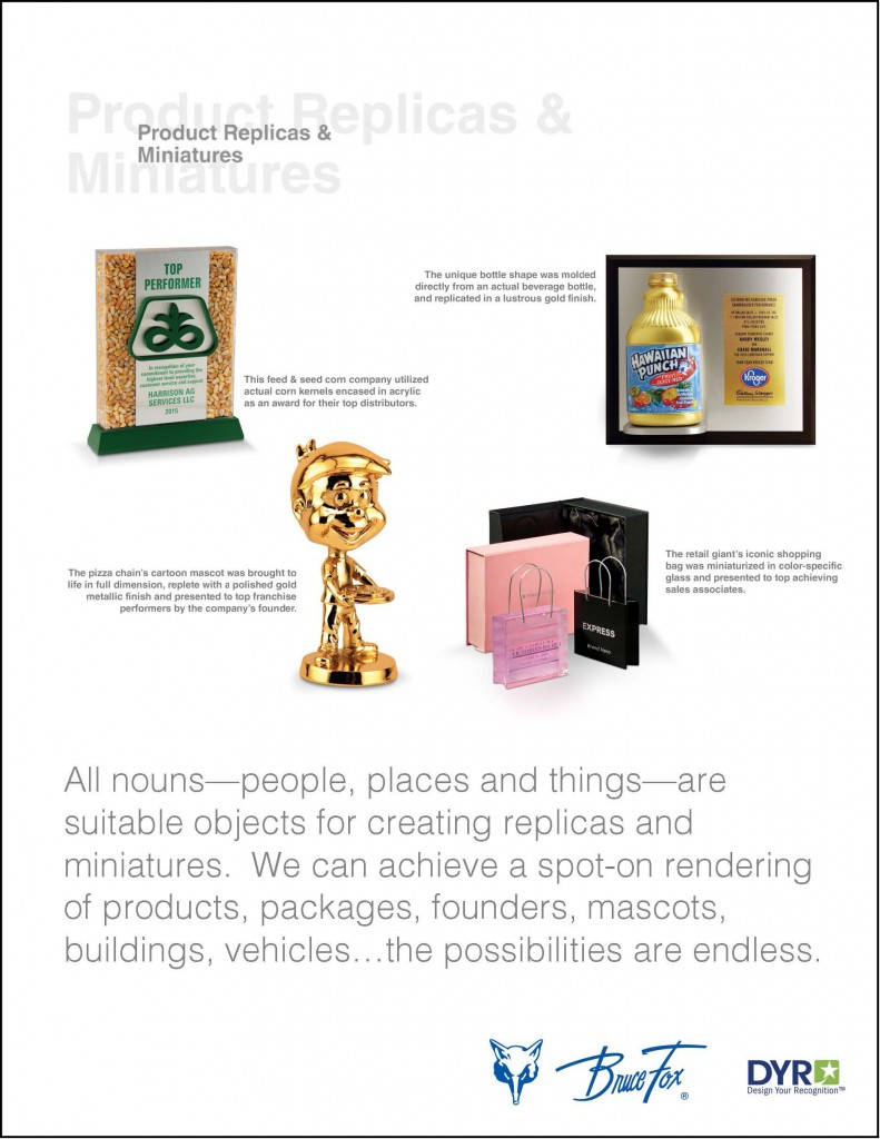 our product application flyer for product replicas and miniatures